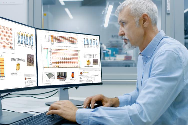 ELD Szolgáltatások - Tervrajzot és ajánlatot készítünk, melyhez a Mecalux által biztosított tervező szoftvert használjuk.