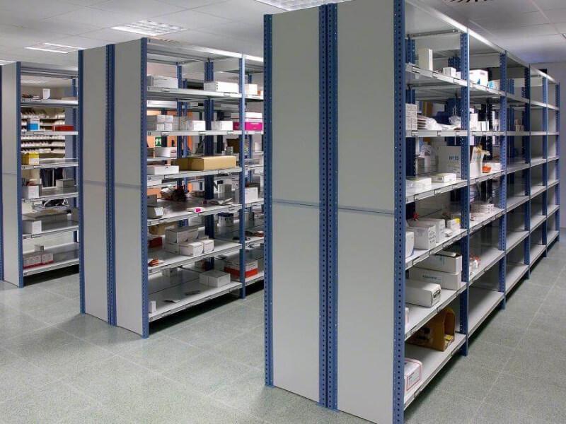 Mecalux M3 típusú polcos rendszer - Ipari felhasználású, nagy teherbírású polcrendszer kis méretű termékek, tárgyak tárolására