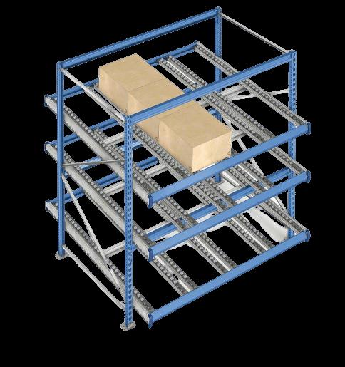 Gyakorlati illusztráció az átfolyó görgős dobozos állványokról
