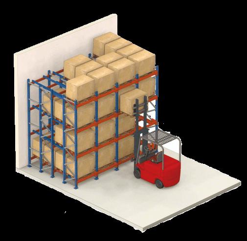 Gyakorlati illusztráció a push-back raklapos állványrendszerről